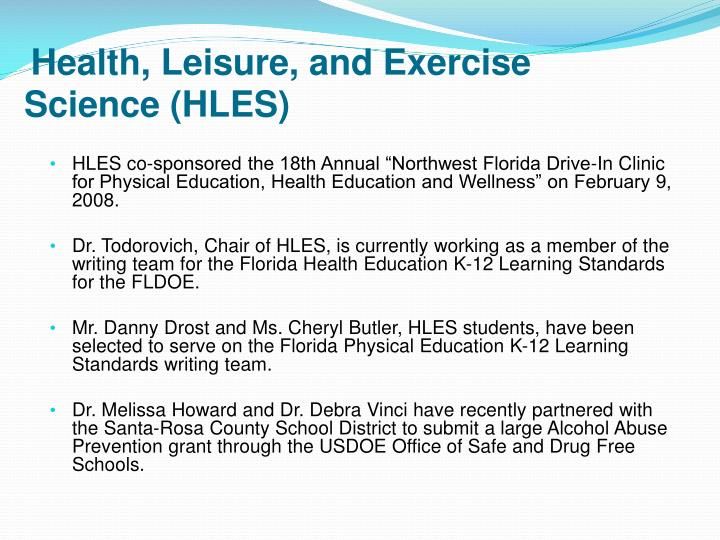Health, Leisure, and Exercise