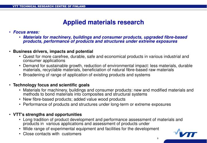 Applied materials research