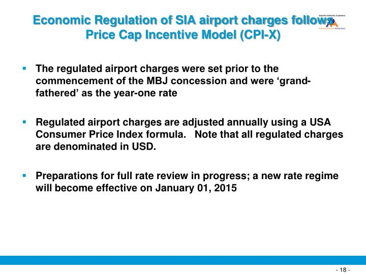 Economic Regulation of SIA airport charges follows Price Cap Incentive Model (CPI-X)