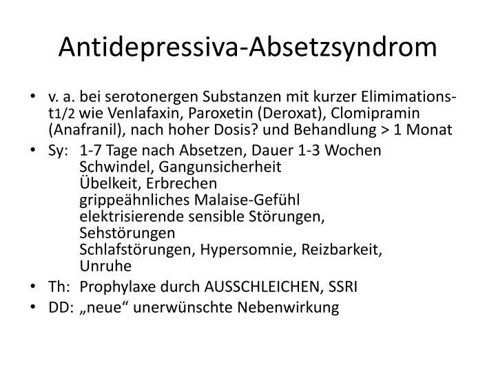 Antidepressiva-Absetzsyndrom