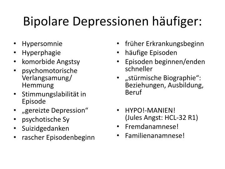 Bipolare Depressionen häufiger: