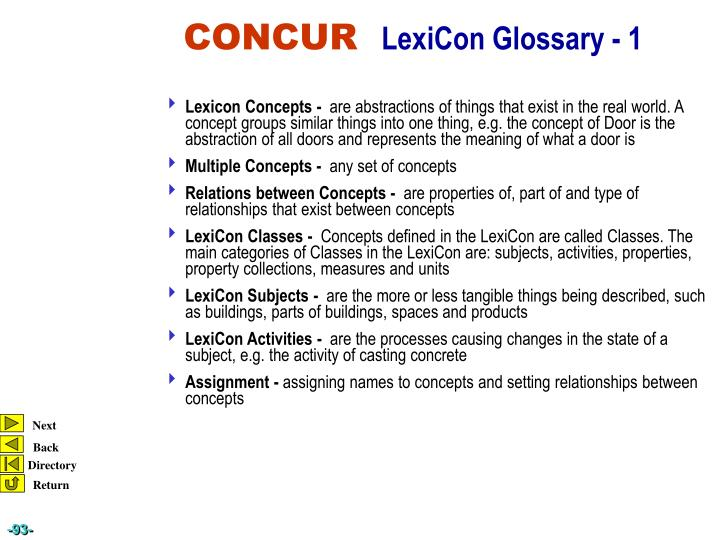 Lexicon Concepts -