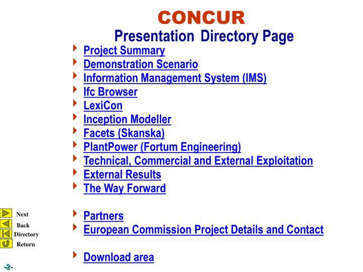 Concur presentation directory page