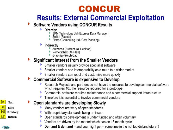 Software Vendors using CONCUR Results