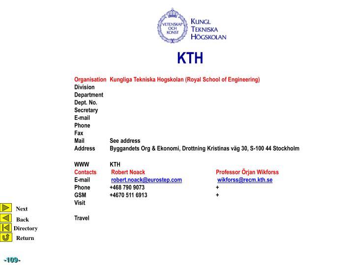 OrganisationKungliga Tekniska Hogskolan (Royal School of Engineering)