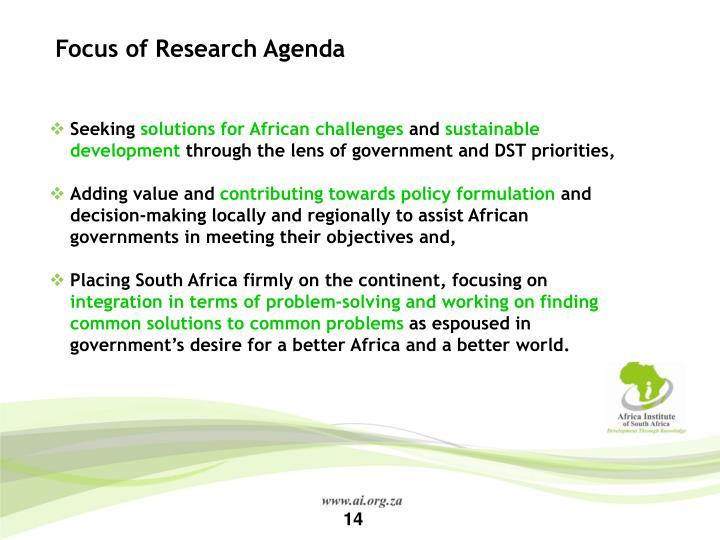 Focus of Research Agenda