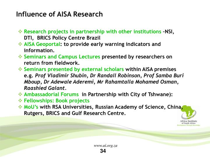 Influence of AISA Research