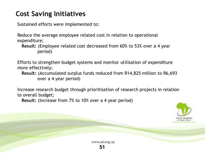 Cost Saving Initiatives