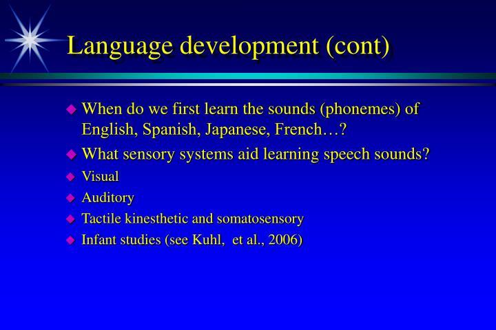 Language development cont