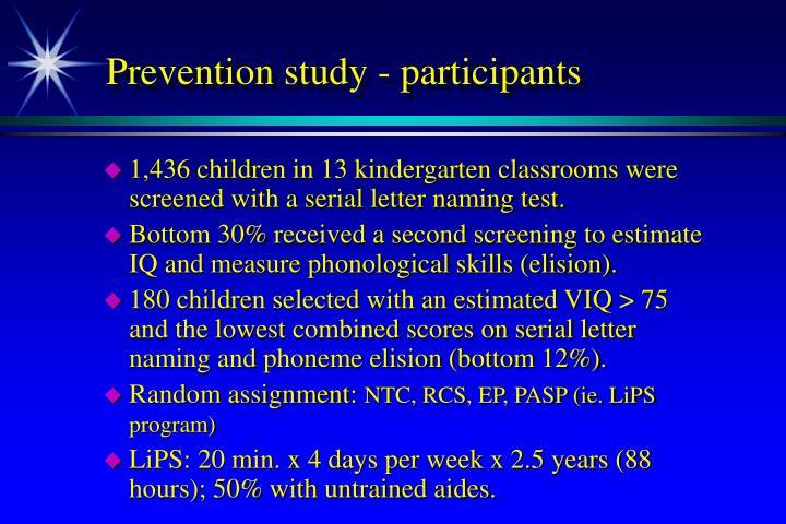 Prevention study - participants