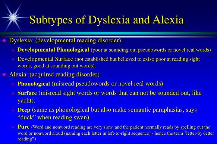 Subtypes of Dyslexia and Alexia