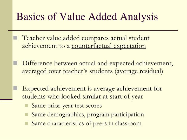 Basics of Value Added Analysis