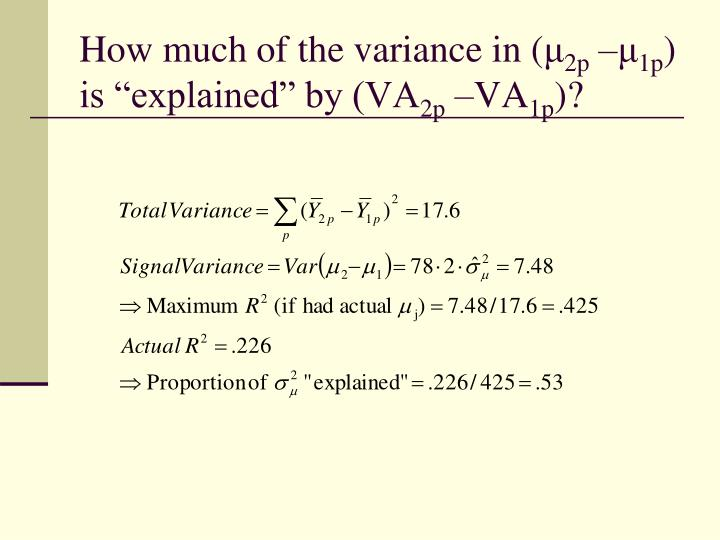 How much of the variance in (