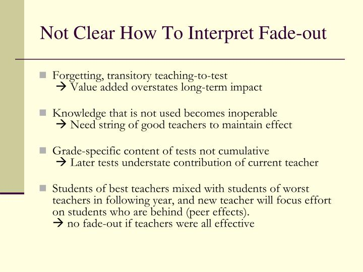 Not Clear How To Interpret Fade-out