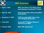 mdx schedule