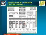 schedule status continued current reporting period