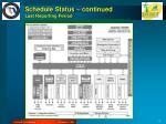 schedule status continued last reporting period