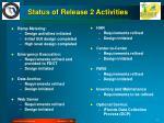 status of release 2 activities