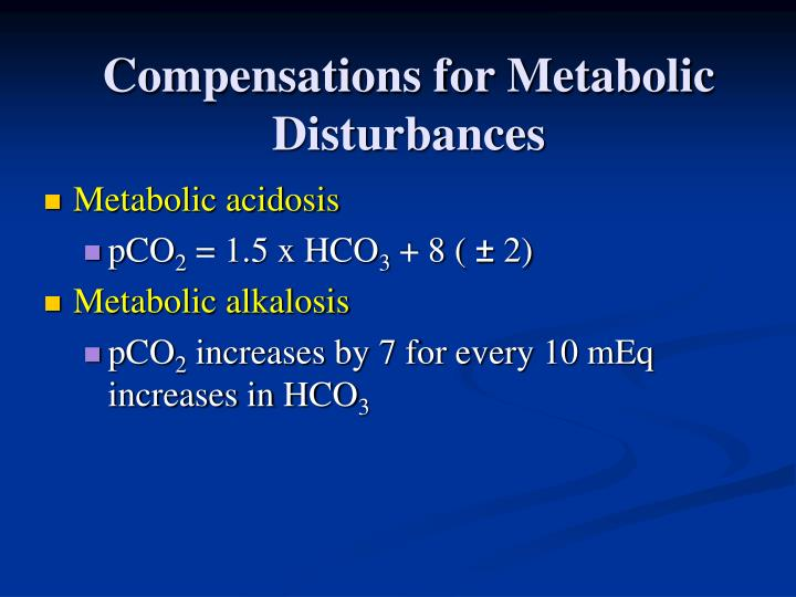 Compensations for Metabolic Disturbances