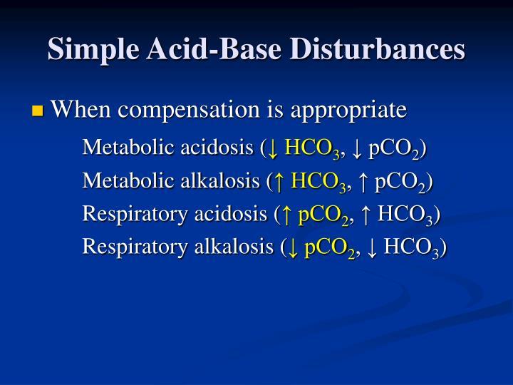 Simple acid base disturbances