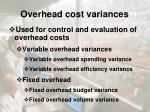 overhead cost variances