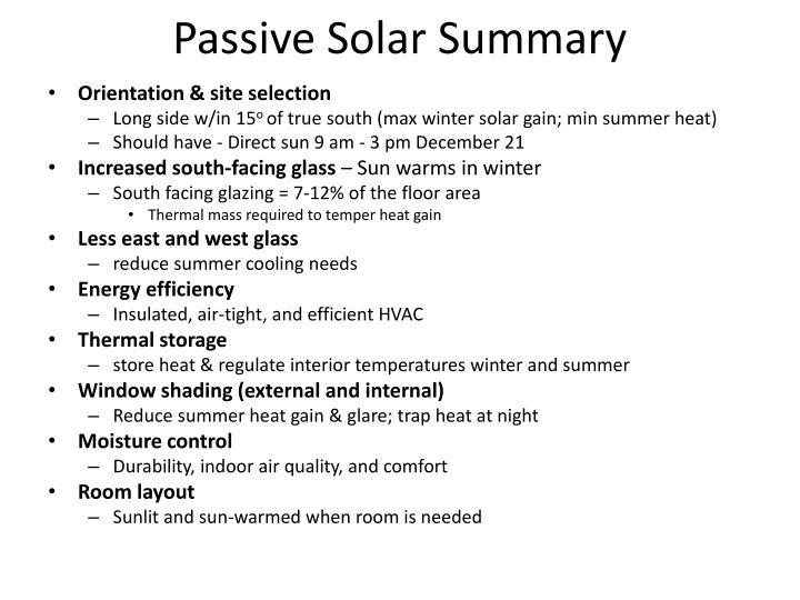 Passive Solar Summary
