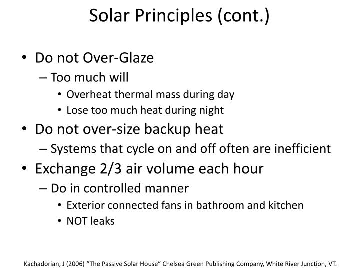 Solar Principles (cont.)