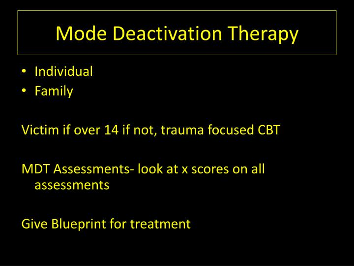 Mode Deactivation Therapy