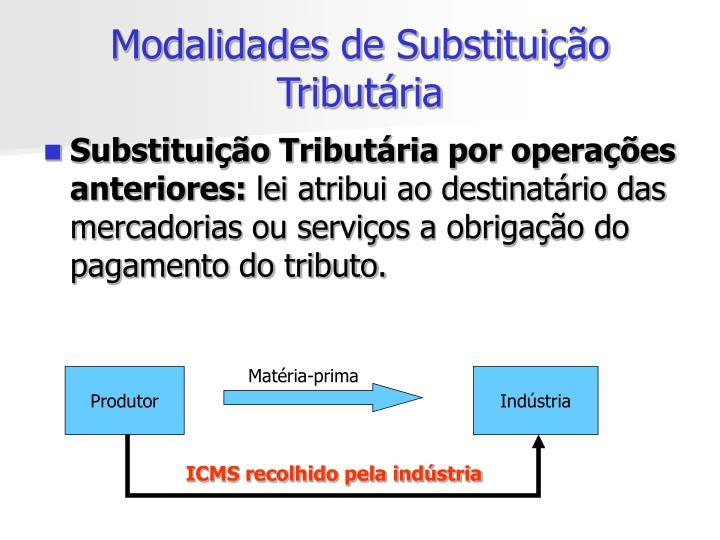 Modalidades de Substituição Tributária