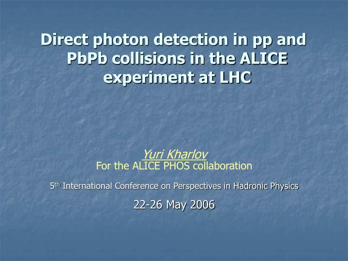 direct photon detection in pp and pbpb collisions in the alice experiment at lhc n.