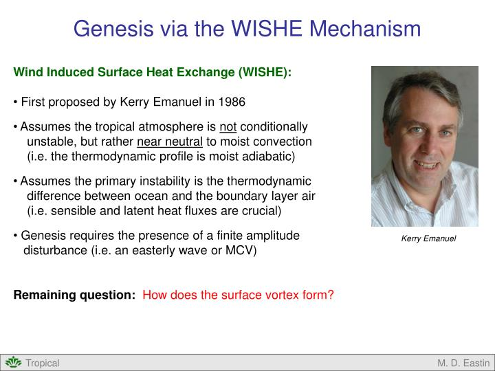 Genesis via the WISHE Mechanism
