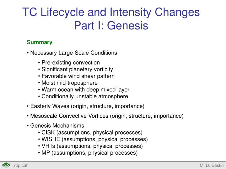 TC Lifecycle and Intensity Changes