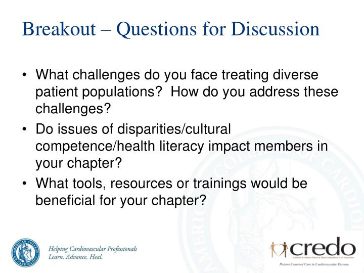 Breakout – Questions for Discussion