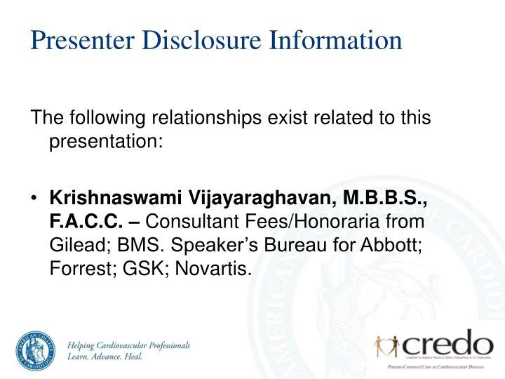 Presenter disclosure information