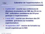 calendrier de l exp rimentation 1