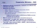 coop ration minist re has