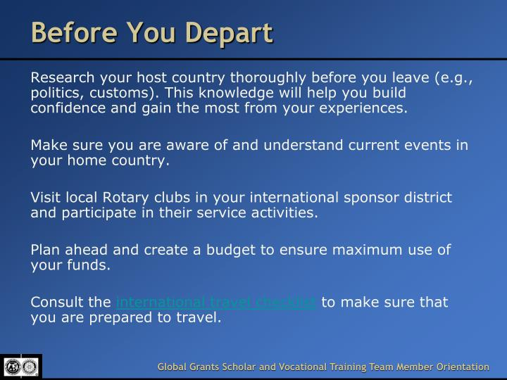 Before You Depart