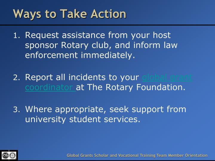 Ways to Take Action