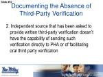 documenting the absence of third party verification1