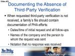 documenting the absence of third party verification2