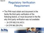 regulatory verification requirement