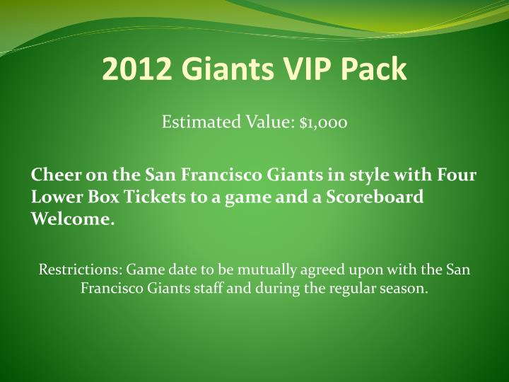 2012 Giants VIP Pack
