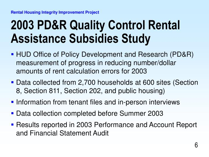 2003 PD&R Quality Control Rental Assistance Subsidies Study