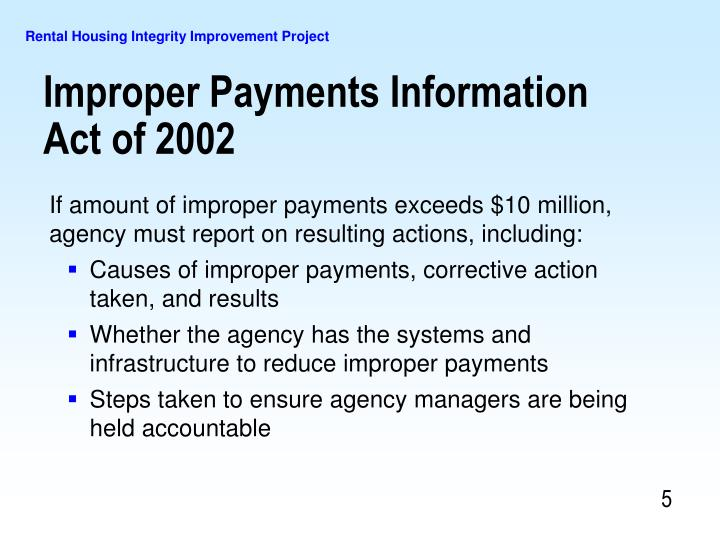 If amount of improper payments exceeds $10 million, agency must report on resulting actions, including:
