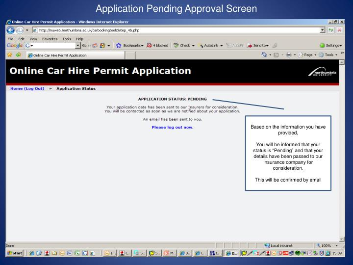 Application Pending Approval Screen