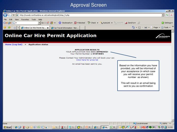 Approval Screen