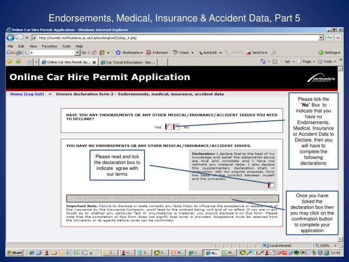 Endorsements, Medical, Insurance & Accident Data, Part 5