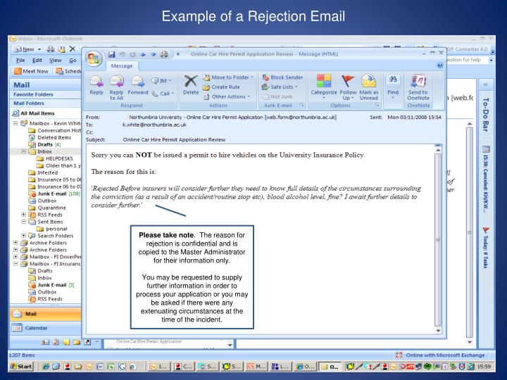 Example of a Rejection Email