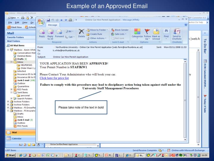 Example of an Approved Email