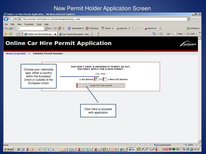 New Permit Holder Application Screen